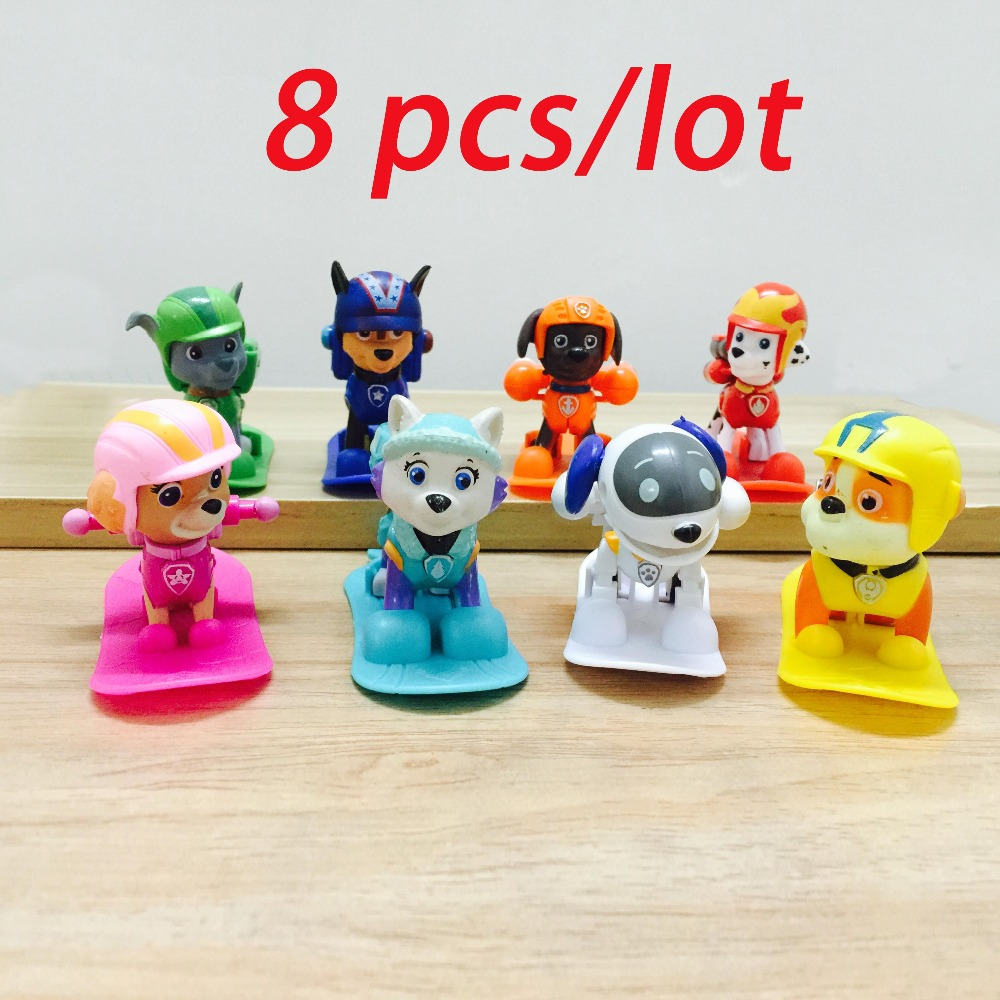 8pcs/lot Winter Skiing Patrol Anime Toys Action Figure dog In Russian Kid Toy Puppy Patrol Patrulla Canina Toys For Child Gift