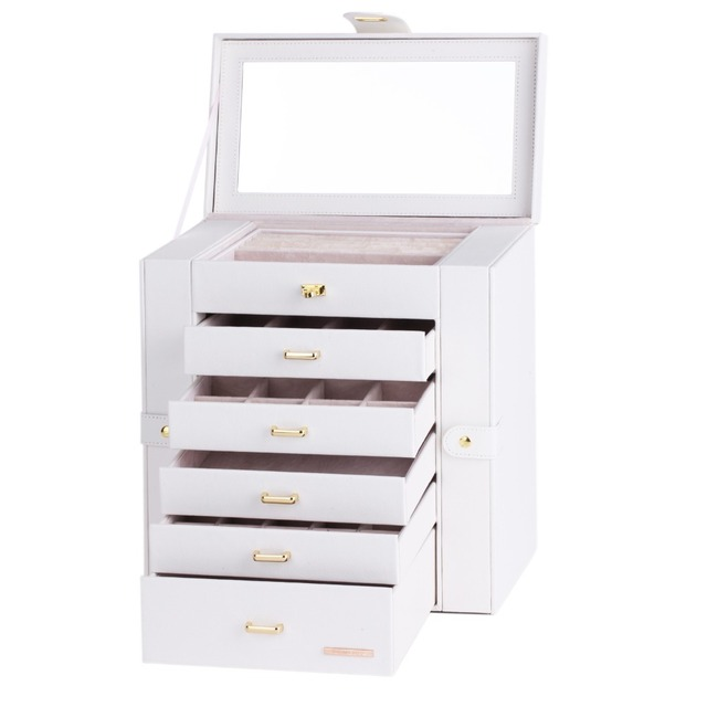 White Large Jewelry Box For Girls Organizer Ring Display Cabinet Watch Storage Box Earrings Holder Leather