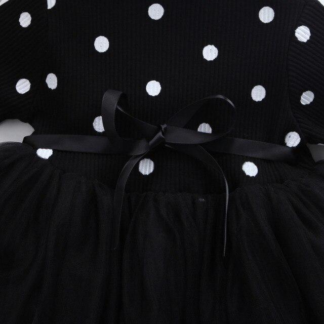 Księżniczka z długim rękawem dziewczynka sukienka noworodka dziewczynka ubrania łuk Dot suknia balowa Tutu sukienek ubrania dla dziewczynek