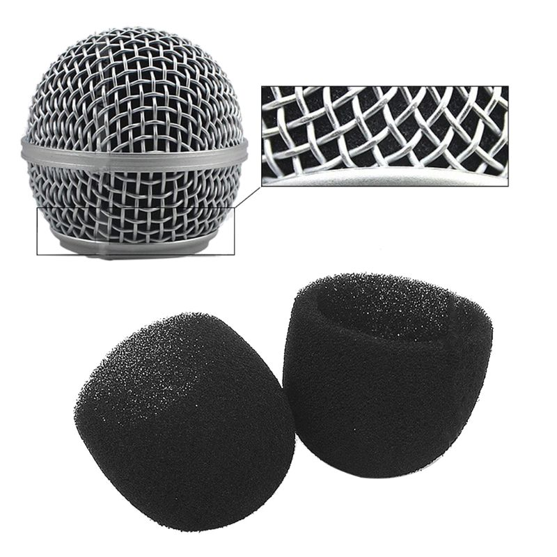 Black Round Ball Shape Microphone Cap Windscreen Grill Inner Foams Sponge For SM58 SLX24 PGX24 PG58 BETA58A Mic Cover