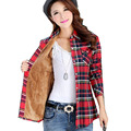 Women Tops Blusa Camisa Femininas Autumn Winter Warm 100% Cotton Long-Sleeved Thick Velvet Flannel Women Blouses Plaid Shirts