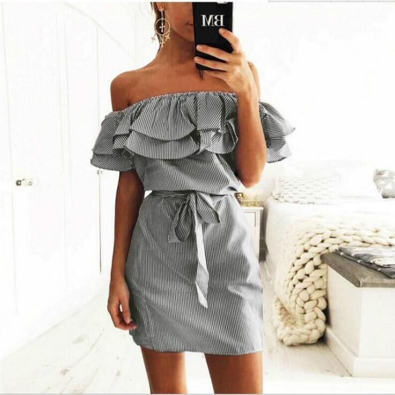 Off Shoulder Strapless Striped Ruffles Dress Women 2018 Summer Sundresses Beach Casual Shirt Short Mini Party Dresses Robe Femme 7