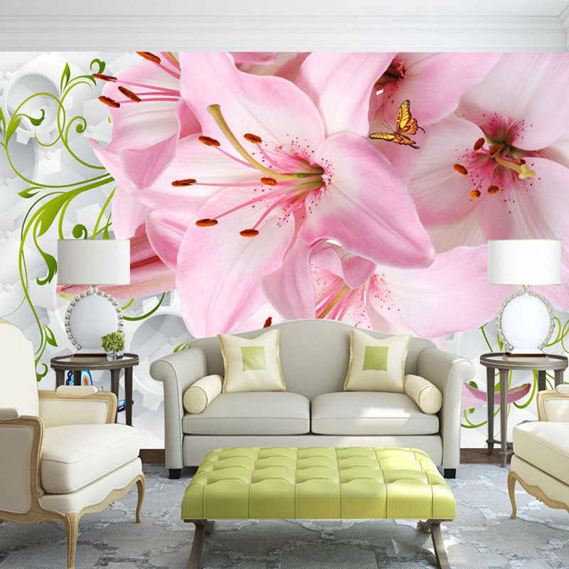 Romantic Pink Lily Flowers Photo Mural For Bedroom Living Room TV ...