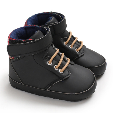 New male baby high tube cute soft bottom PU leather newborn baby first Walkers Baby Shoes child boy shoes non-slip baby shoes Islamabad