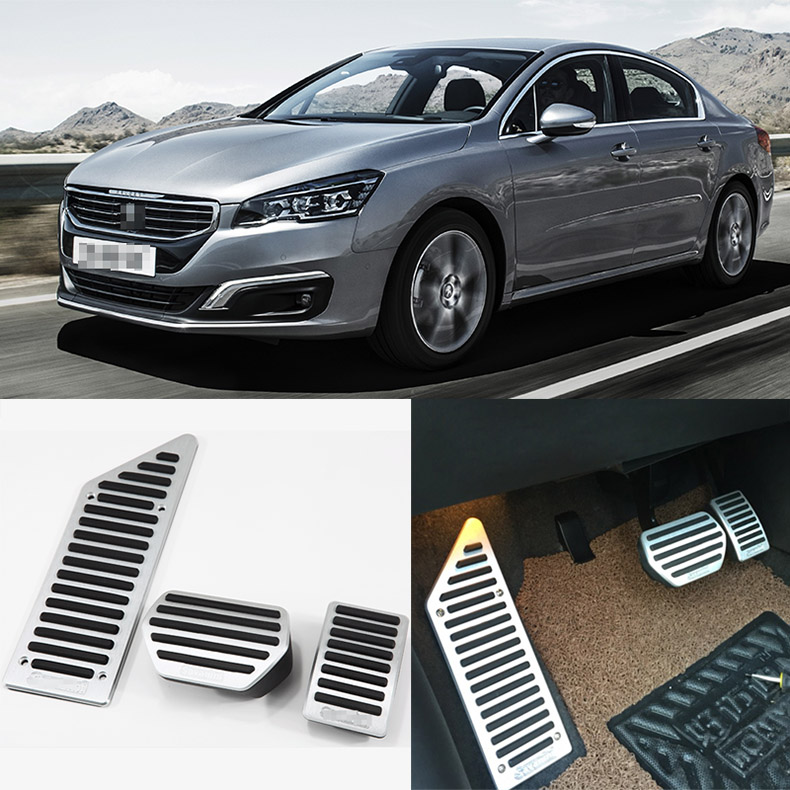 Brand New 3pcs Aluminium Non Slip Foot Rest Fuel Gas Brake Pedal Cover For Peugeot 508 2011-2016 brand new 3pcs aluminium non slip foot rest fuel gas brake pedal cover for mazda 3 at 2011 2015
