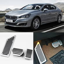 Brand New 3pcs Aluminium Non Slip Foot Rest Fuel Gas Brake Pedal Cover For Peugeot 508 2011-2016