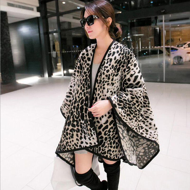 Fashion Women Winter Blanket Shawl Leopard Printing Thick Ponchos Available 3 Colours 153*130cm 500gram Free Shipping