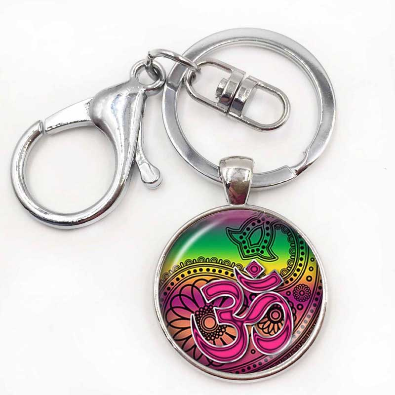 Om Aum Ohm Buddha keychain Namaste Pendant Yoga Jewelry Hinduism Symbol Pendant Meditation Hindu Sweater keychain for Women Men