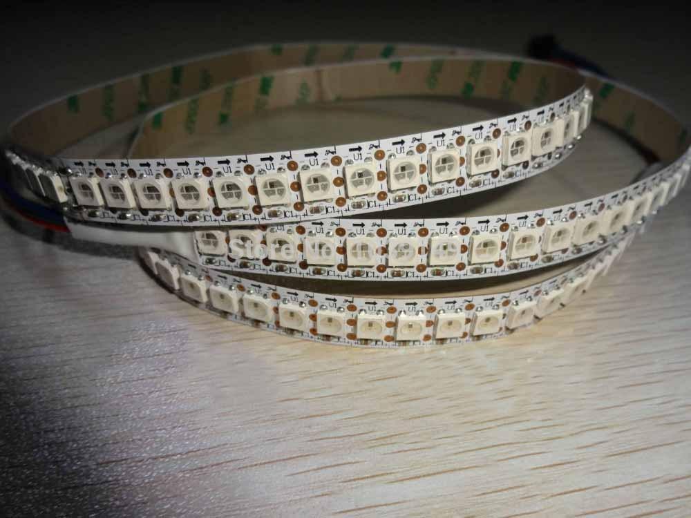 1 m/lot ws2812 ws2811 144 pixel programmable smd 5050 rgb led bande; 5 v numérique ws2812b bandes lumineuses; pcb blanc; couleur