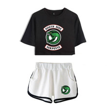 Summer Women's Sets Riverdale South Side Serpents Short Sleeve Crop Top + Shorts Sweat Suits Women Tracksuits Two Piece Outfit(China)