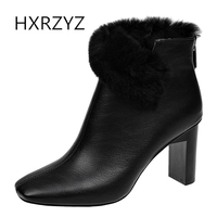 HXRZYZ Women High Heel Shoes Plush Ankle Boots Spring Autumn Fashion New Suede Short Boots Ladies