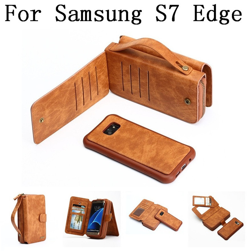 Portable Zipper Phone wallet Purse leather case for Samsung Galaxy S7 Edge with Card Holders case