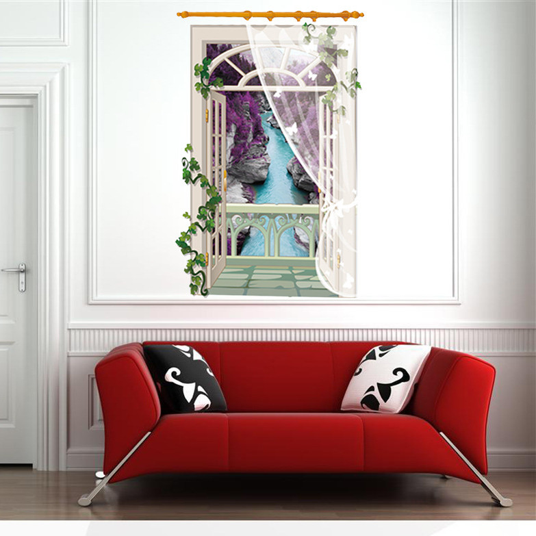 Buy latest 3d window wall sticker home decor for kids room beautiful river - Latest beautiful wall decoration ...