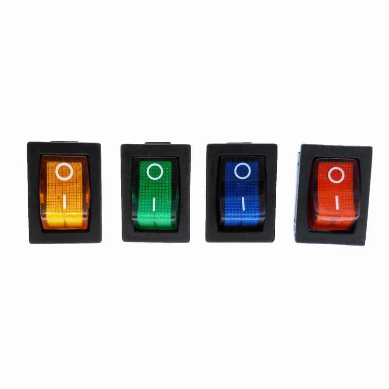 Kcd1 interruptor de alimentação 2 posição 2 pinos 3 pinos 4 pinos com luz 10a 250 v vermelho azul verde amarelo preto branco