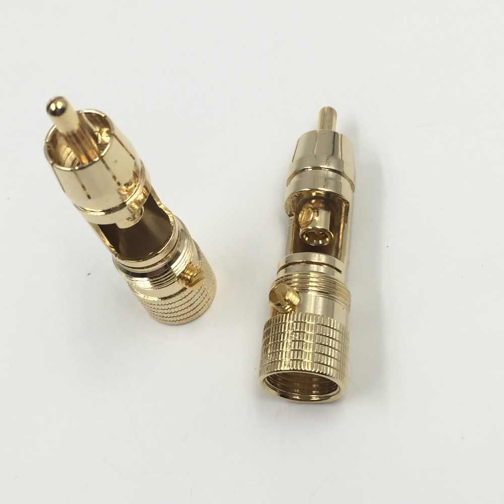 2 stks NAKAMICHI 10mm Vergulde RCA Plug Locking Non Soldeer RCA Coaxiale Connector Socket Adapter fabriek Hoge kwaliteit