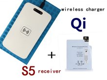 LED white  qi wireless charger charging pad with wireless charger receiver for Samsung galaxy S5