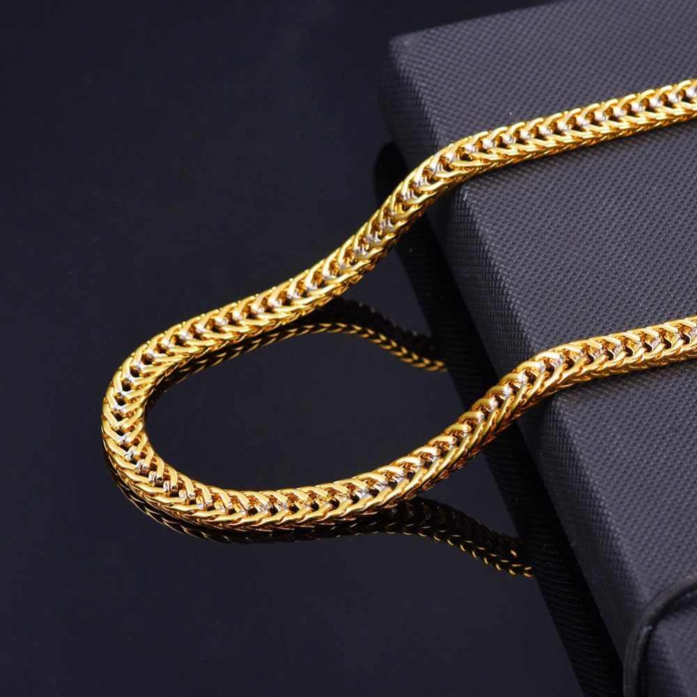 U7 שרשרת שרשרת גברים מתנה שני טון זהב צבע קולייר Dropshipping Vintage טרנדי ראפר ארוך שרשרת Mens תכשיטי N437