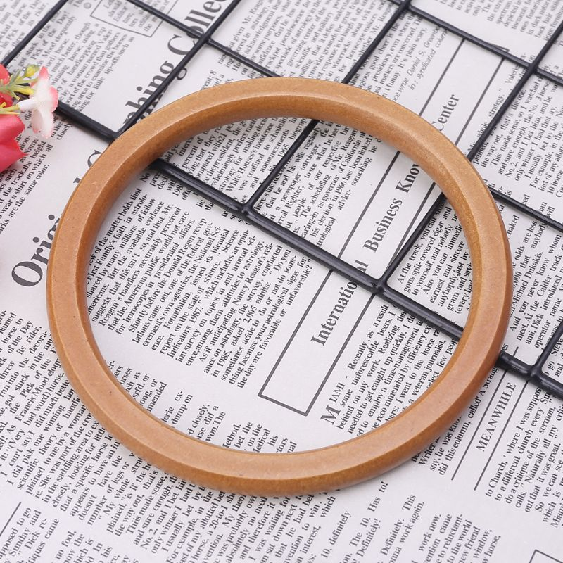 1pc Fashion Unique Wooden Round Shaped Handles Replacement For DIY Handbags Purse Handle Shopping Tote