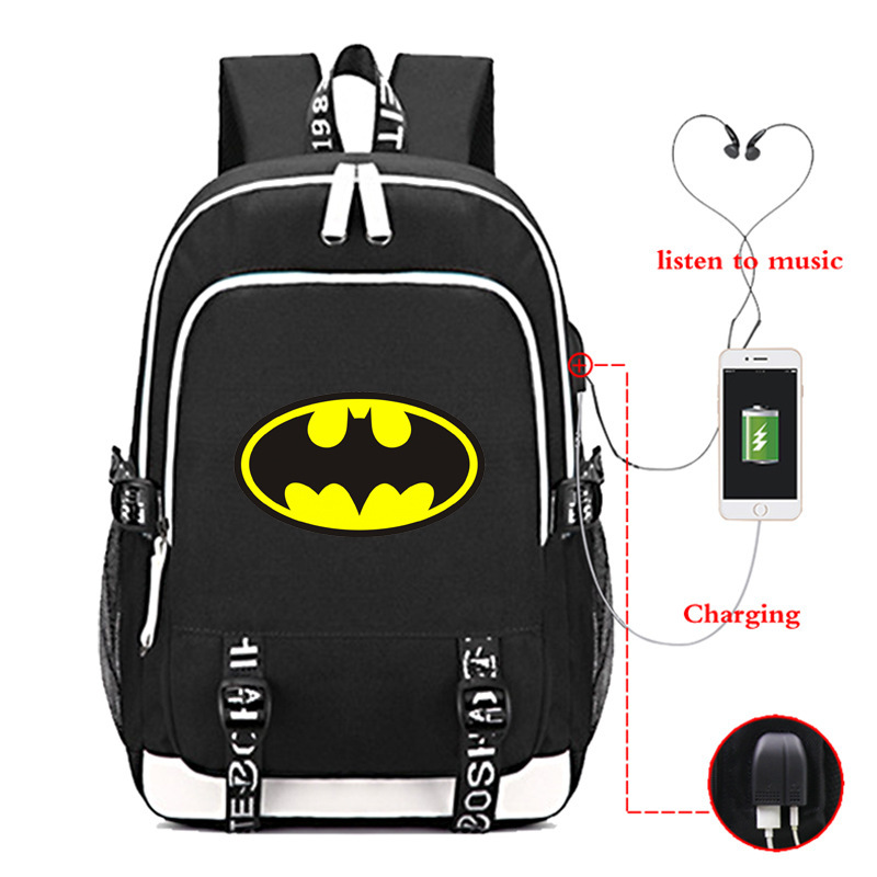 Superhero Batman USB Backpack Laptop Bags Student School Bags Bookbag DC Comics Teens Shoulder Travel Bags GiftSuperhero Batman USB Backpack Laptop Bags Student School Bags Bookbag DC Comics Teens Shoulder Travel Bags Gift