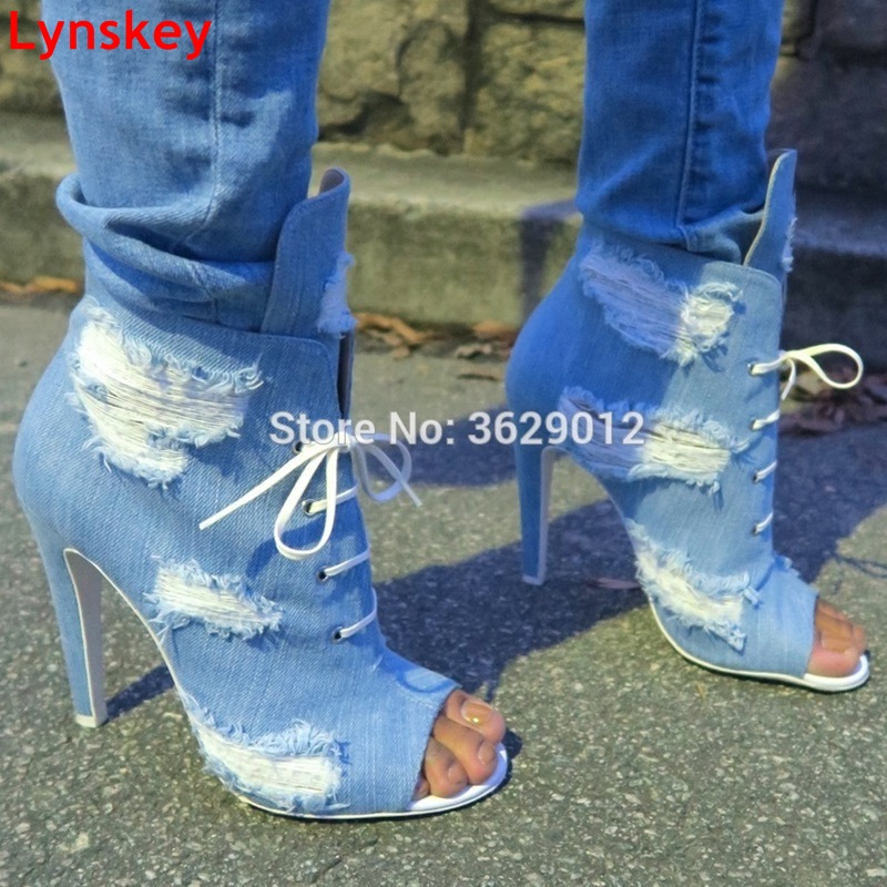 Lynskey Ankle Boots For Women Fashion Summer Boots High Heel Boots Shoes Woman Sexy Peep Toe Denim Gladiator Boots ravryy hot sale jeans boots summer shoes ankle boots for women boots denim boots high heels sexy peep toe shoes woman stiletto