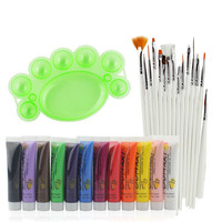 15Pcs Set Nail Art Brush Painting 12 Colors UV Gel Acrylic 3D Nail Polish Paints 1