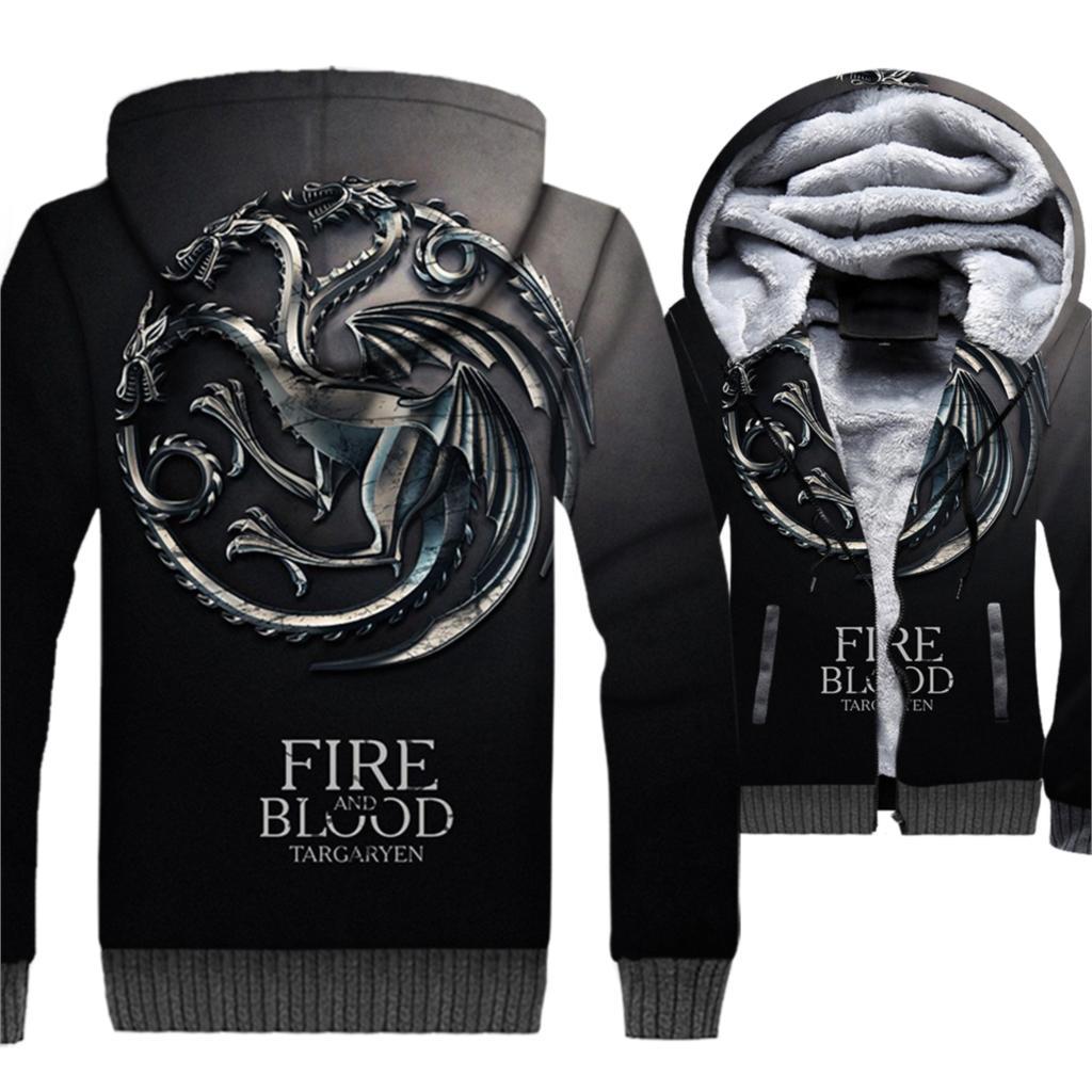Maison Targaryen feu et sang game Of Thrones le Dragon 3D vestes 2019 hiver chaud polaire épais sweat à capuche pour homme Hip Hop Streetwear