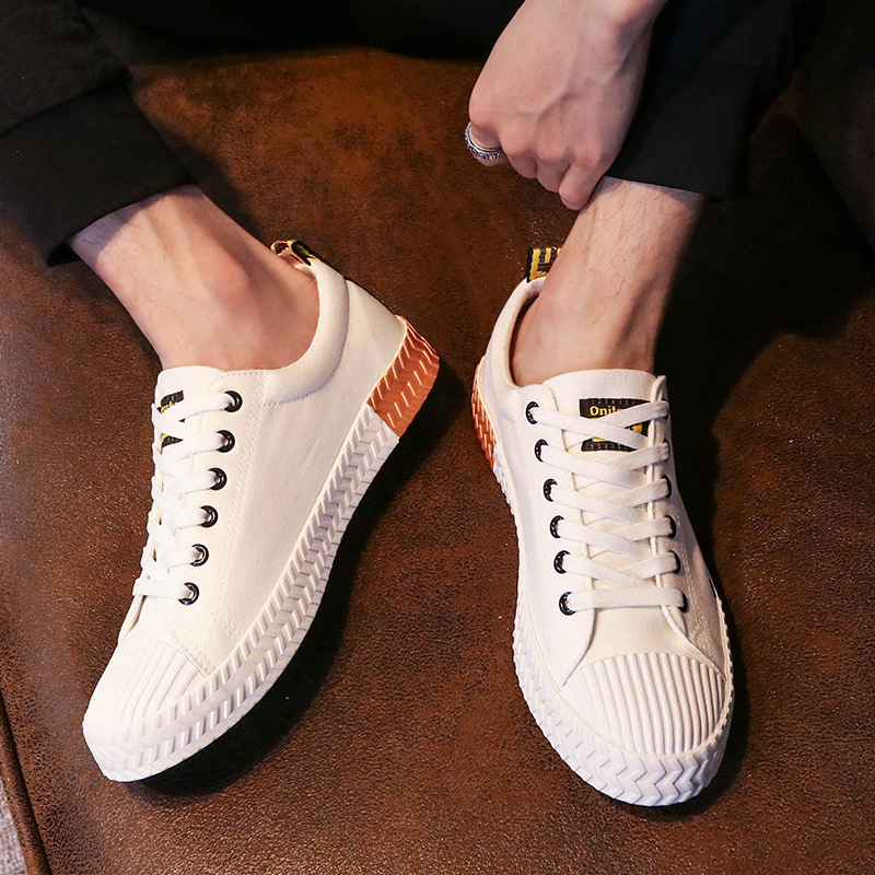 Mens Shoes Breathable Summer Snekaers 2018 Lace up Black White Canvas Shoes Casual Men Trainers Flat Skate for Walking