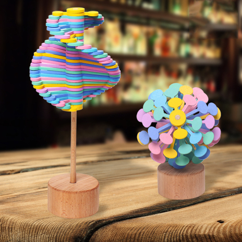 Funny Decompression Rotating Lollipop Fibonacci Sequence Desktop Decoration Anti-stress Wooden Toy