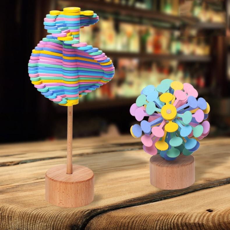 Funny Decompression Rotating Lollipop Fibonacci Sequence Desktop Decoration Decompression Anti-stress Wooden Toy