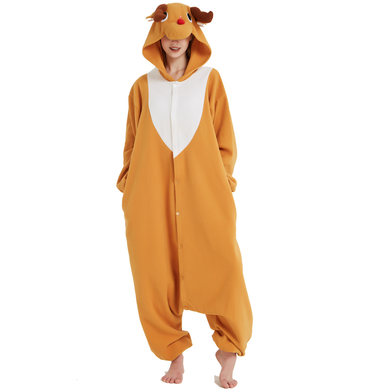 Funny Christmas Elk Kigurumi Onesie Animal Deer Jumpsuit Sleepwear Adult Pajamas Polar Fleece For Halloween Pyjamas Home Party (6)