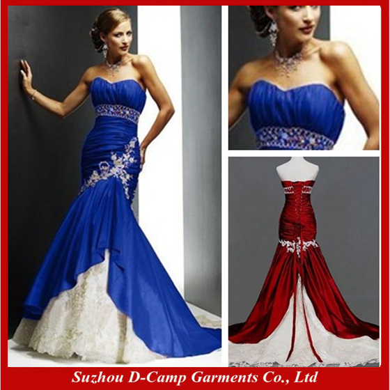 Free Shipping Wd 1891 Traditional Hot Royal Blue And Ivory Wedding Dresses Bi Color