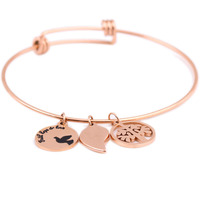 Rose Gold Plated 316L Stainless Steel Initial Expandable Wire Bangle Bracelets For Women