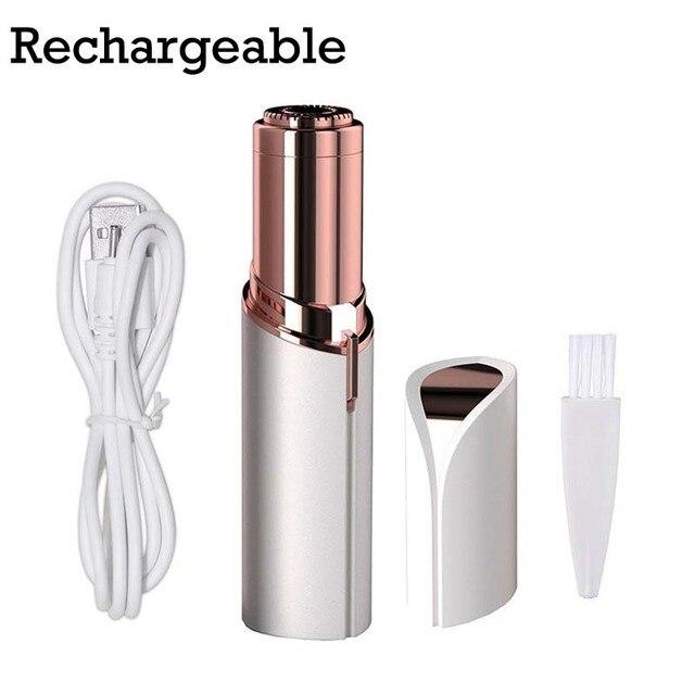 Tragbare USB Rechargable Elektrische Schmerzlos Haar Entfernung Für Körper Gesichts Epilierer Lippenstift Neck Bein Rasur Haar Entferner Werkzeug
