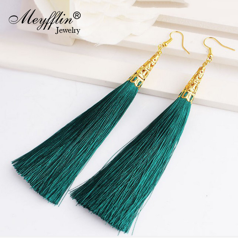 Long Tassel øredobber for kvinner Drop Fiber dangle Brincos Boucle d'Oreille Pensel Øredobber Mote Smykker Pendientes Bijoux