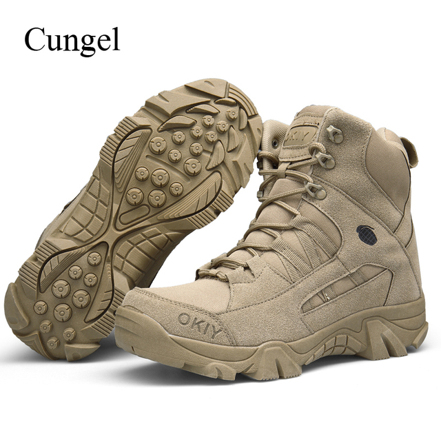 Cungel Winter Fashion Men's Military Boots Comfortable Ankle Boots Men Work Shoes Army Desert Combat Boots Men Snow Footwear