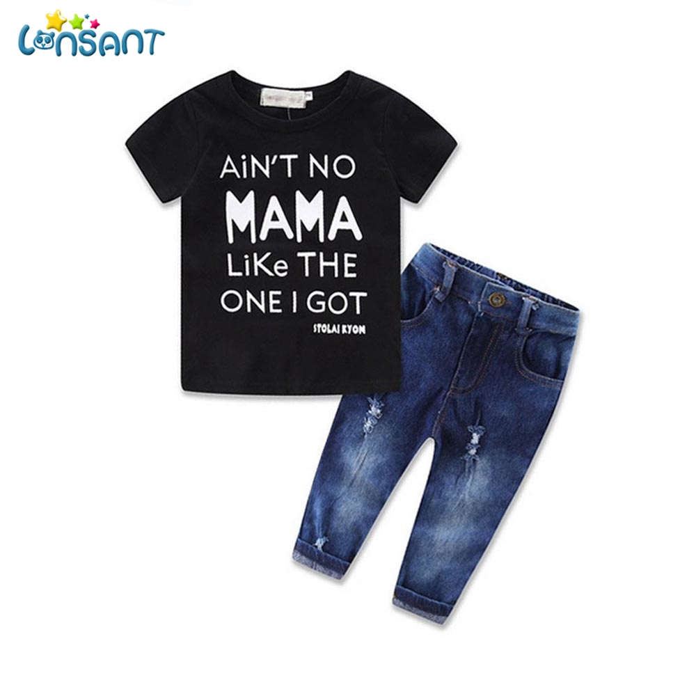 LONSANT Baby Boys Clothes Summer 2017 Letter T-shirt Denim Ripped Jeans Newborn Toddler Infant Children Clothing Dropshipping