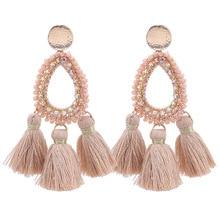 Sehuoran 2019 Trendy Oorbellen Handmade Crystal Beads Drop Earrings For Women Bohemian Tassel Pendientes Fashion Jewelry Gifts стоимость