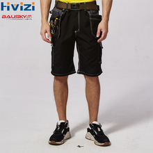 work short pants men's workwear trousers black gray summer multi tool pockets durable and wear-resistant black and grey B219 цена и фото