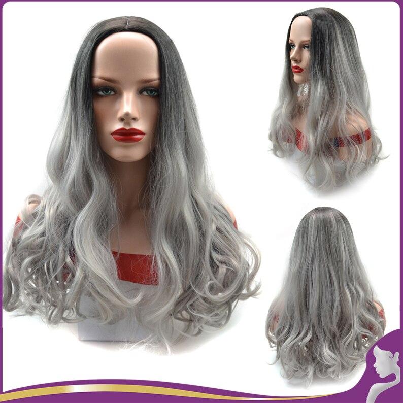 24 60 cm ombre perruque femme longue onduls gradient colore noir gris rsistant la chaleur synthtique cheveux pas cher ha - Perruque Colore