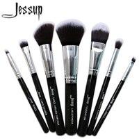 Jessup Black 7pcs Professional Makeup Brush Set Beauty Cosmetic Kit Eyeshadow Foundation Blusher Make Up Brushes