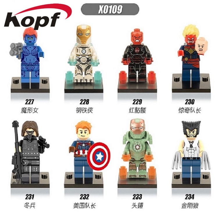 50Pcs X0109 Super Heroes Wolverine Iron Man Red Skull Captain America Winter Soldier Bricks Building Blocks