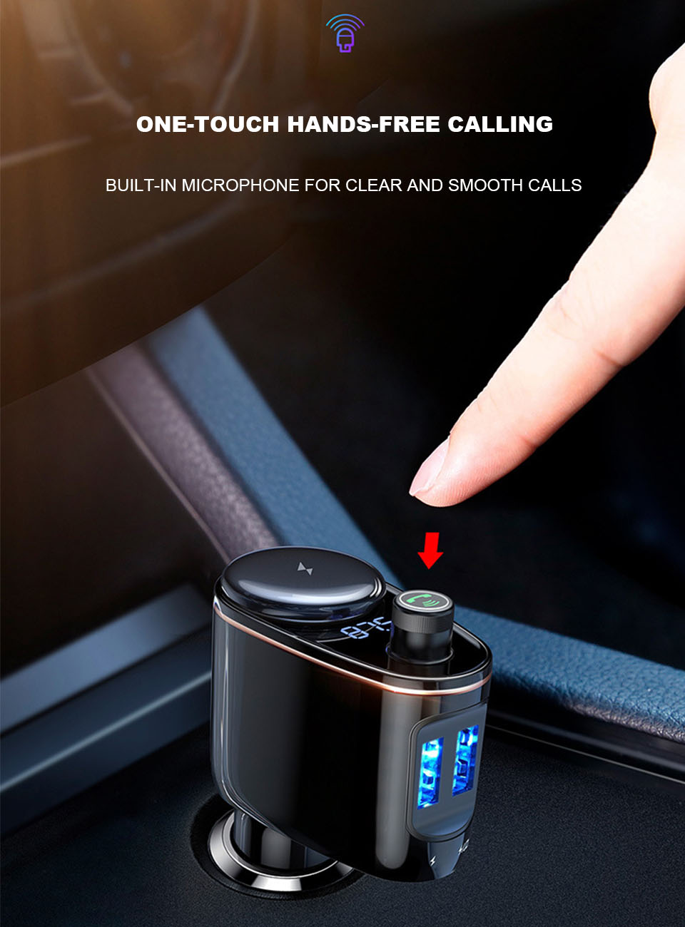 Car Charger Adapter Fast Charging Universal Fm Transmitter Aux Modulator Bluetooth Handsfree Car Audio Mp3 Player Dual Usb Charger Car (3)
