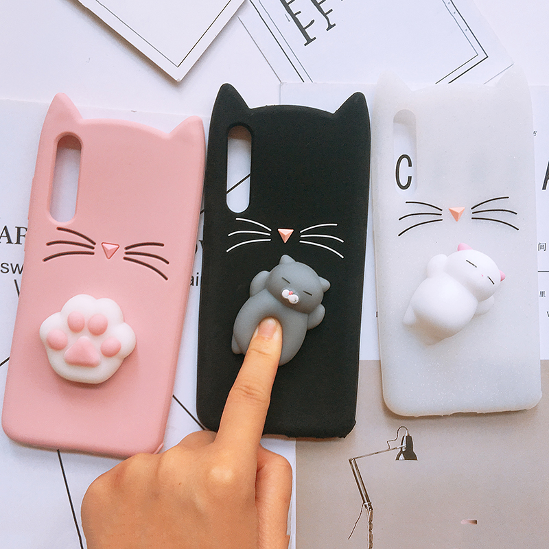 3D Squishy Case For Huawei P8 P9 P10 Lite Plus Silicone Cute Cat Case For Huawei P20 Lite Plus Y5 Y6 Anti-Fall Phone Cover