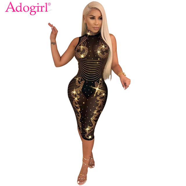 Adogirl Sparkling Diamonds Sheer Mesh Bodycon Dress Turtleneck Sleeveless  Bandage Midi Night Club Party Dresses Vestido 094157ba5ad8