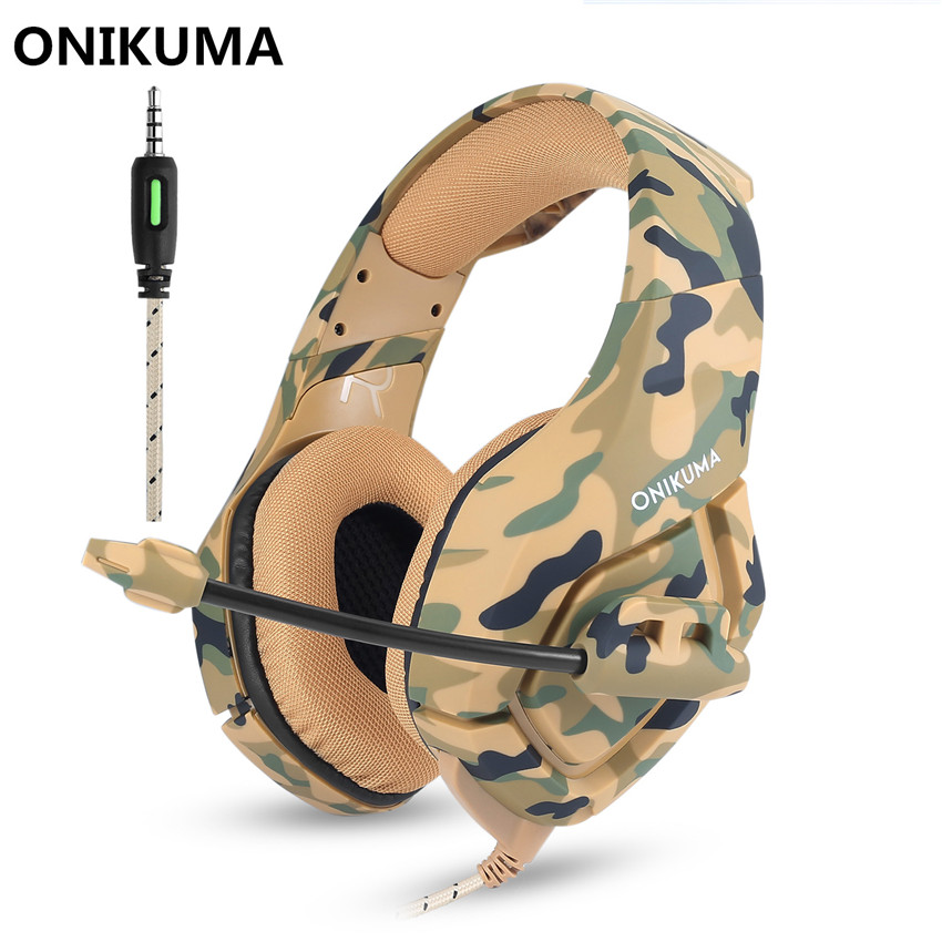 ONIKUMA PS4 Headset Gaming Headphones for a Moblie Phone New xbox one Laptop PC Computer Earphones Bass Casque with Microphone camouflage gaming headset ps4 pc computer xbox one gamer headset game headphone with microphone for computer moblie phone laptop