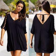 Летняя накидка размера плюс от M до 3XL, Женская пляжная блузка, женское бикини, пляжная одежда, черное платье