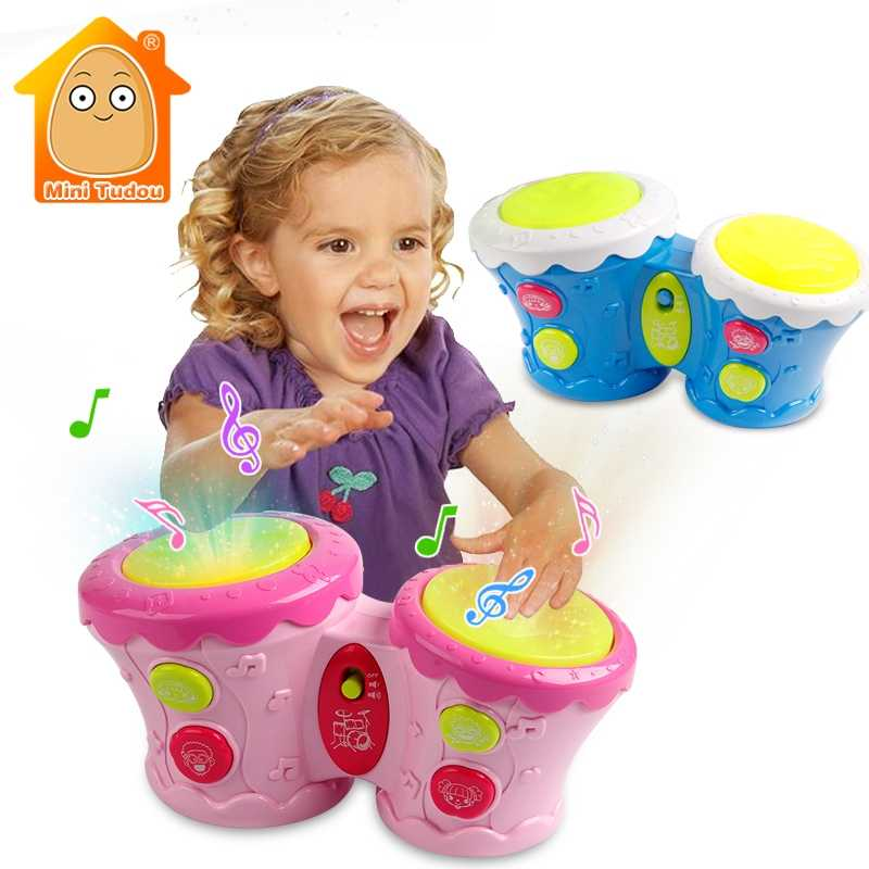 Electronic Music Instruments 2 Hand Drum Toys With Light For Kids Children  Educational Playing And Learning Muical Keyboard