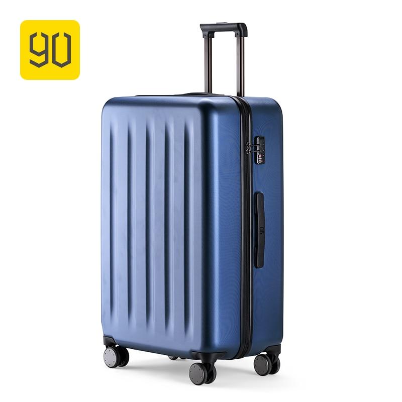 Xiaomi 90FUN 100% PC Mala Rolando Colorido Bagagem Leve Carry on Spinner Roda de bloqueio TSA Viajar mulheres homens 20 24 28 polegada