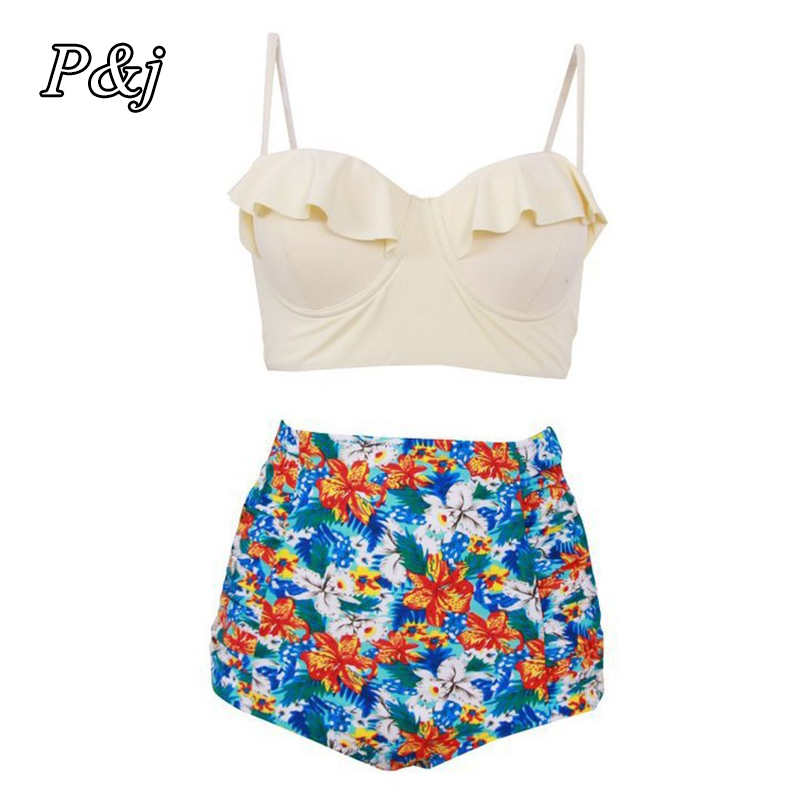 P&j 2017 New Bikinis Women Swimsuit High Waist Bathing Suit Plus Size Swimwear Push Up Bikini Set Vintage Retro Beach Wear 4XL rosakini sexy bikinis women high waist plus size swimsuit bathing suit swimwear push up bikini set vintage retro beach wear 4xl