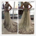 Elegant Arabic Long Evening Dresses 2017 Cap Sleeve Abaya Dubai Kaftan Beaded Applique Lace Prom Gowns Robe De Soiree 02191W